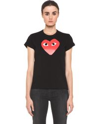 Comme des Garçons Tee with Red Emblem in Black - Lyst