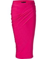 Donna Karan New York Shocking Pink Draped Jersey Skirt - Lyst