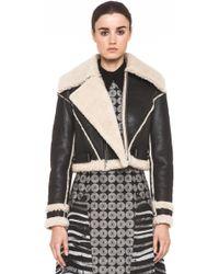 Rodarte Cropped Shearling Jacket in Black - Lyst