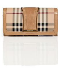 Burberry Trench Haymarket Check Metallic Detail Continental Penrose Wallet - Lyst