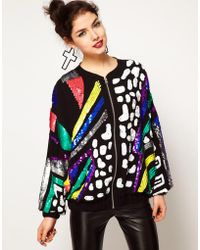 ASOS Collection Asos Bomber Jacket with Allover Bright Embellishment - Lyst