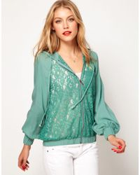 ASOS - Asos Lace Bomber Jacket with Hood - Lyst