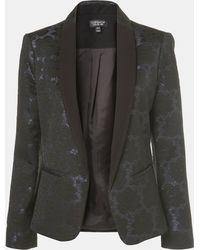 Topshop Floral Jacquard Tux Blazer - Lyst