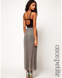 Asos Petite Exclusive Metallic Maxi Dress with Strap Back - Lyst