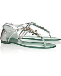 Giuseppe Zanotti Swarovski Crystal Embellished Leather Sandals - Lyst