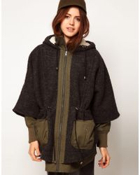 ASOS Collection Asos Textured Oversized Cape Coat green - Lyst