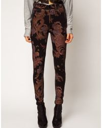 Just Female - Pag High Rise Ankle Skinny Jeans in Paisley - Lyst