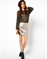 ASOS Collection  Mini Skirt in Metallic Leather - Lyst