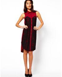 ASOS - Asos Midi Shirt Dress with Lace Panels - Lyst