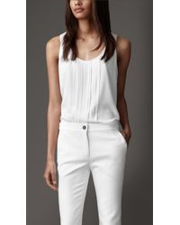 Burberry Pleated Silk Blend Top - Lyst