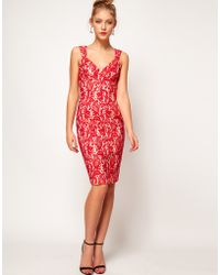 ASOS Collection Pencil Dress in Bonded Lace red - Lyst