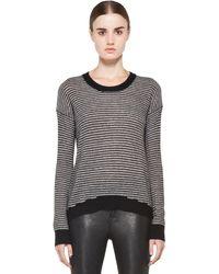 Enza Costa Cashmere Stripe Sweater in Black - Lyst