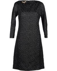 Michael Kors Boat Neckline Black Short Dress - Lyst