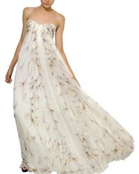 Alexander McQueen Dragon Fly Print Silk Chiffon Long Dress beige - Lyst