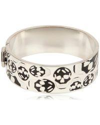 Alexander McQueen Enamel And Brass Skull Bracelet - Lyst