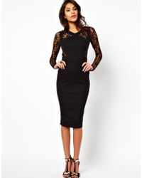 ASOS Collection Bodycon Dress with Lace Inserts - Lyst