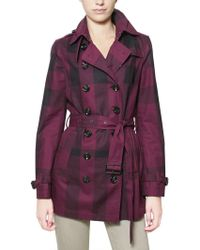 Burberry Brit - Double Breasted Gabardine Trench Coat - Lyst