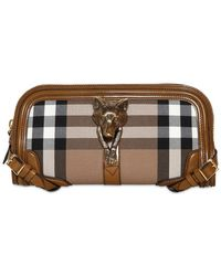Burberry Alma Wolf Bridle House Check Clutch - Lyst