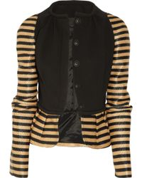 Burberry Prorsum - Crepe and Striped Raffia Jacket - Lyst