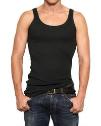 Dolce & Gabbana Ribbed Stretch Cotton Jersey Tank Top black - Lyst