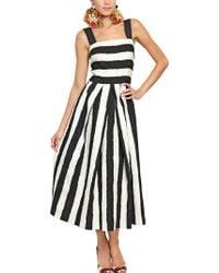 Dolce & Gabbana Striped Cotton and Silk Brocade Dress white - Lyst