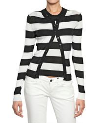 Dolce & Gabbana Striped Ribbed Knit Viscose Cardigan white - Lyst
