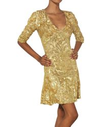 Uk Emilio Pucci Gold Sequins Silk Tulle Dress Emilio Pucci Sequined Silk