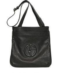 84932b3a88 Giorgio Armani - Embossed Logo Grained Leather Bag - Lyst