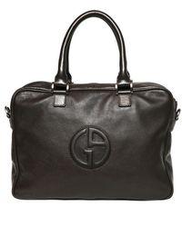Giorgio Armani | Embossed Logo Grained Leather Briefcase | Lyst