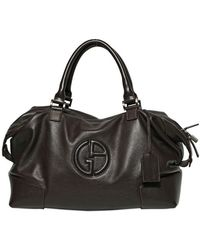 Giorgio Armani - Logo Grained Leather Weekend Bag - Lyst