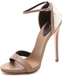 Giuseppe Zanotti Ankle Strap Sandals with Metal Detail beige - Lyst