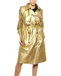 Lanvin Washed Laminated Cotton Canvas Trench gold - Lyst