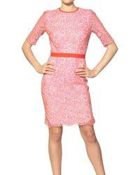 MSGM Cotton Lace Dress pink - Lyst