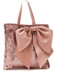 RED Valentino Paillettes Bow Tote pink - Lyst