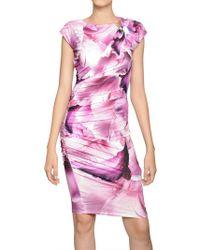 Roberto Cavalli Jewelled Printed Techno Jersey Dress - Lyst