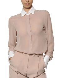 Valentino Cotton Piqué On Silk Georgette Shirt beige - Lyst