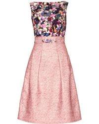 Erdem Vivienne Bouclé Dress with Print pink - Lyst