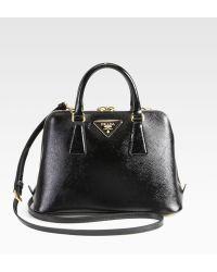 Prada Saffiano Vernice Small Round Top-Handle Bag - Lyst
