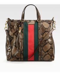 Gucci Rania Python Top-Handle Bag - Lyst
