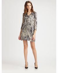 Halston Heritage Silk Printed Dress - Lyst