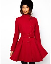 ASOS Collection | Asos Fit and Flare Belted Coat | Lyst