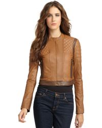 BCBGMAXAZRIA Lug Leather Quilted Jacket - Lyst