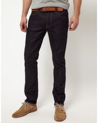 Nudie Jeans Nudie Thin Finn Organic Dry Ecru Embro Slim Fit Jeans - Lyst