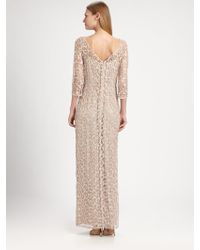 Kay Unger Metallic Lace Gown - Lyst