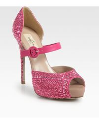 Valentino Glam Crystal Coated Suede Platform Pumps - Lyst