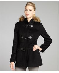 Calvin Klein  Wool Blend Hooded Faux Fur Trim Toggle Front Coat - Lyst