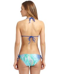 Just Cavalli Snake Print Triangle Bikini-aqua - Lyst