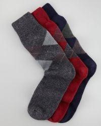 Punto - Set Of Three Cashmere Blend Argyle Socks - Lyst