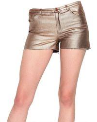 American Retro - Metallic Denim Stretch Shorts - Lyst