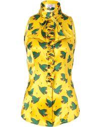 L'Wren Scott Chartreusegreen Bird Printed Silk Top with Ruffle - Lyst